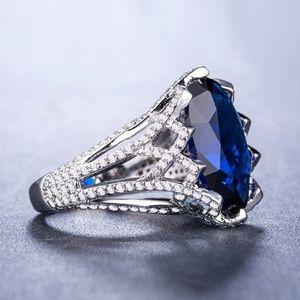 Elegant 925 Silver Ring  2.75ct Blue Sapphire New